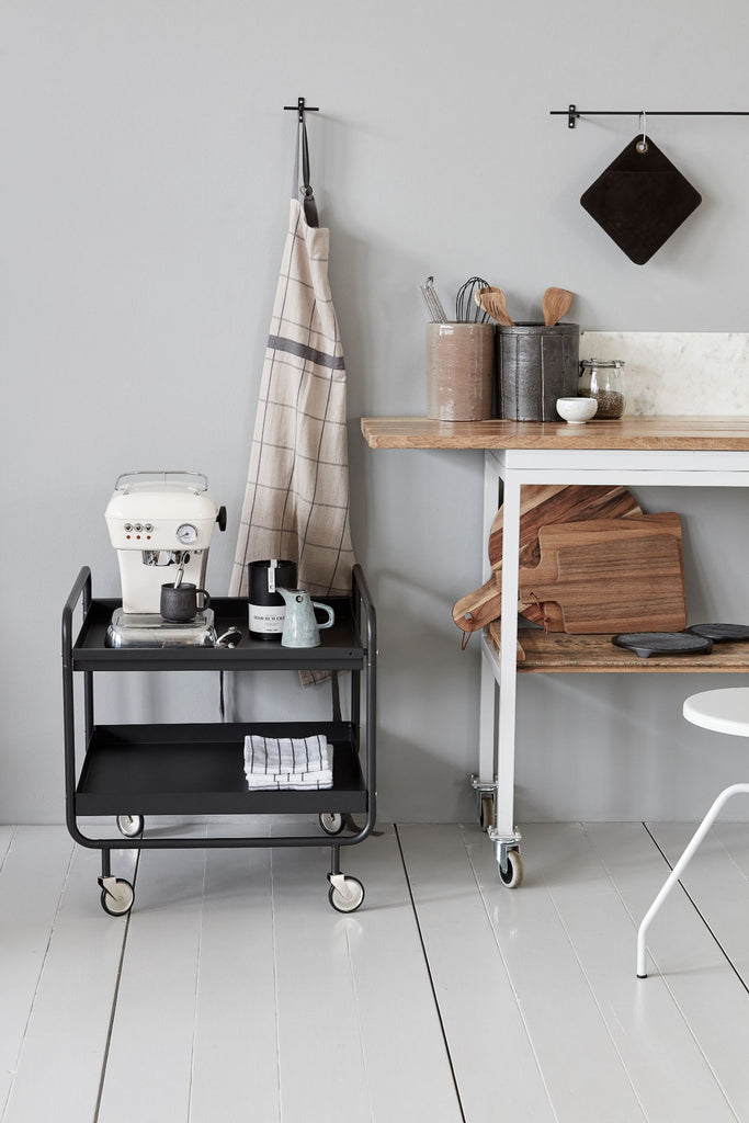 roll trolley 2 shelves black