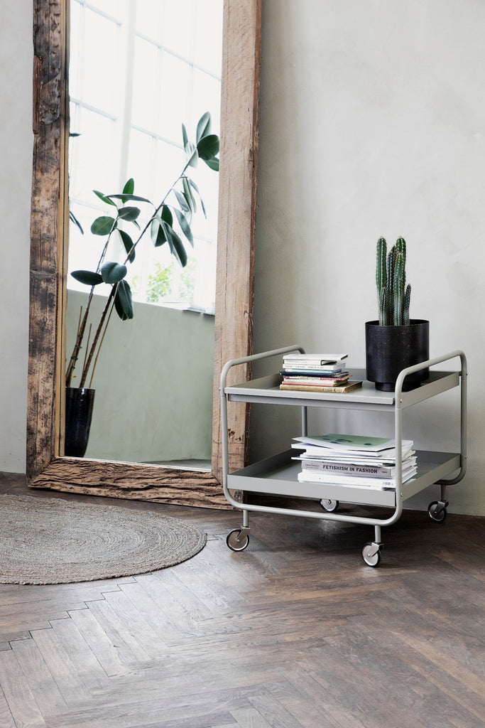 roll trolley 2 shelves grey