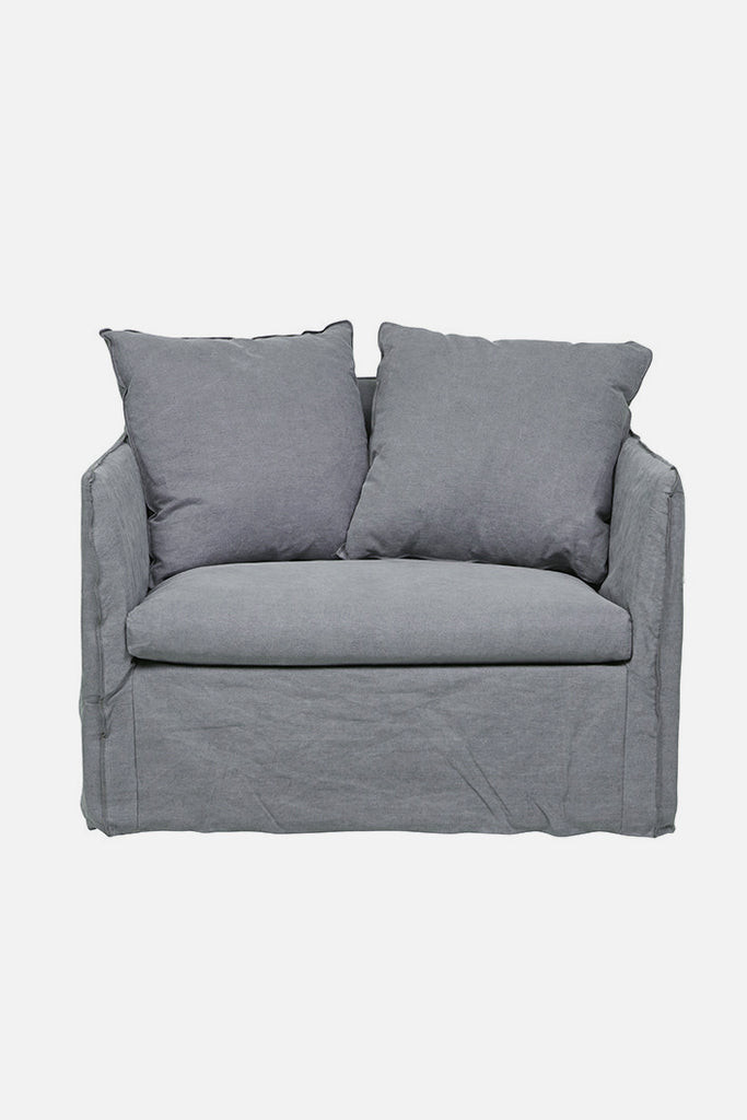 torpedo bay linen sofa chair grey