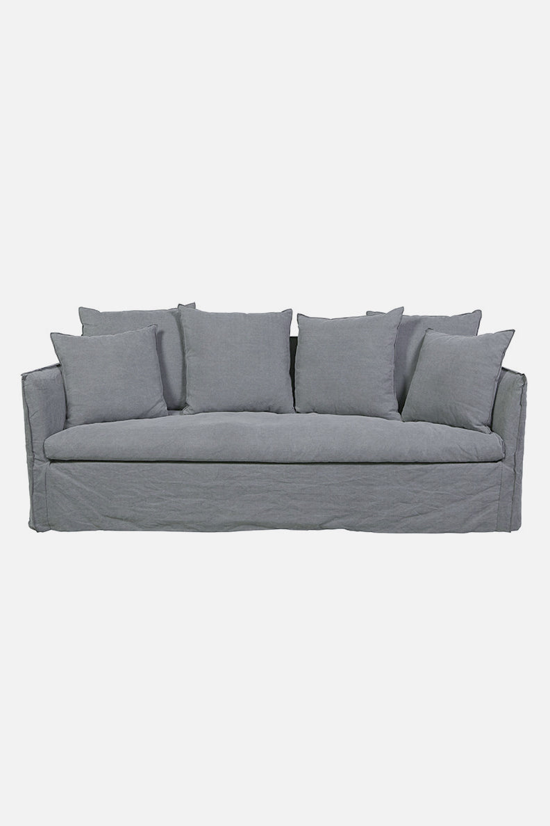 torpedo bay  linen sofa 3 seater grey