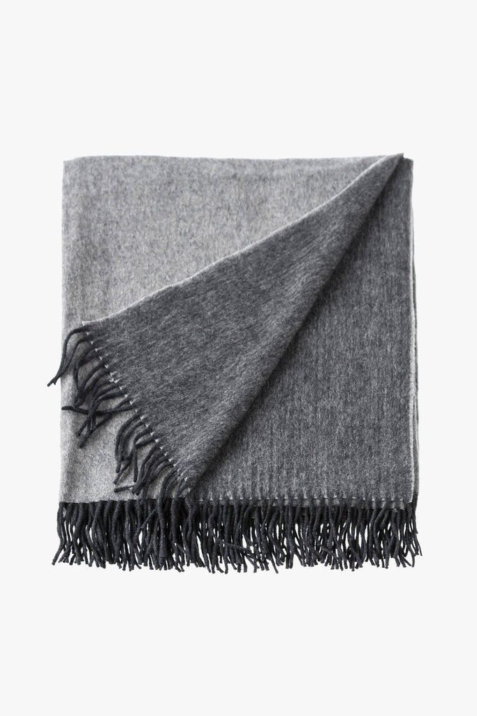 cashmere mix throw charcoal and grey