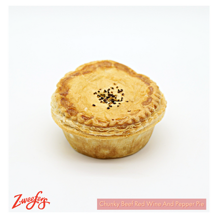 Zweefers Chunky Beef Red Wine and Pepper Pie