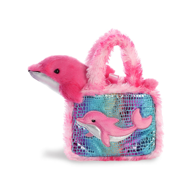 AURORA Soft Plush Pink Dolphin ''Fancy Pals'' with Pet Carrier