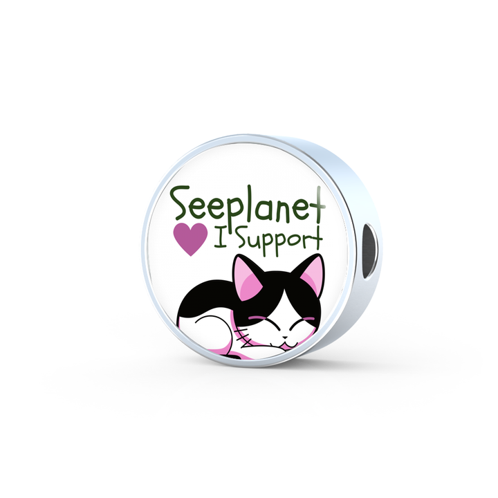 "SEEPLANET ""I SUPPORT CATS"" CHARM"