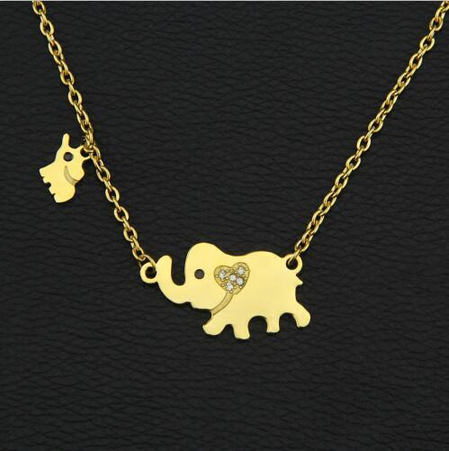 Elephant Necklace Mama and Baby
