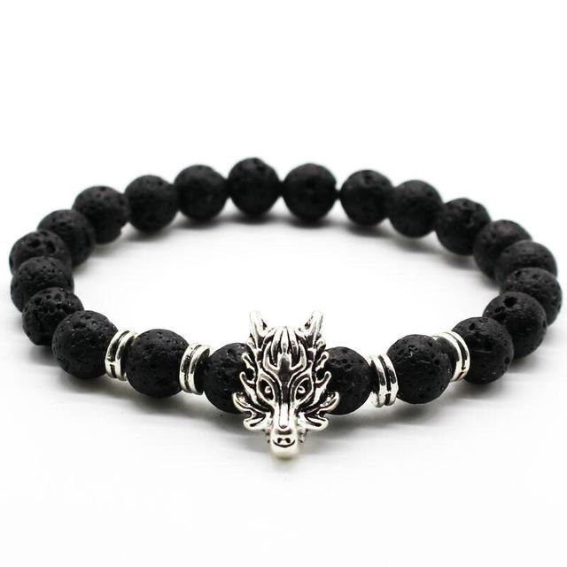 """GUARDIAN OF THE PACK"" Wolf Lava Stone Bracelet"