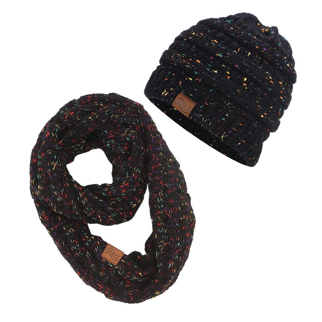 Ponytail Beanie and Scarf Set