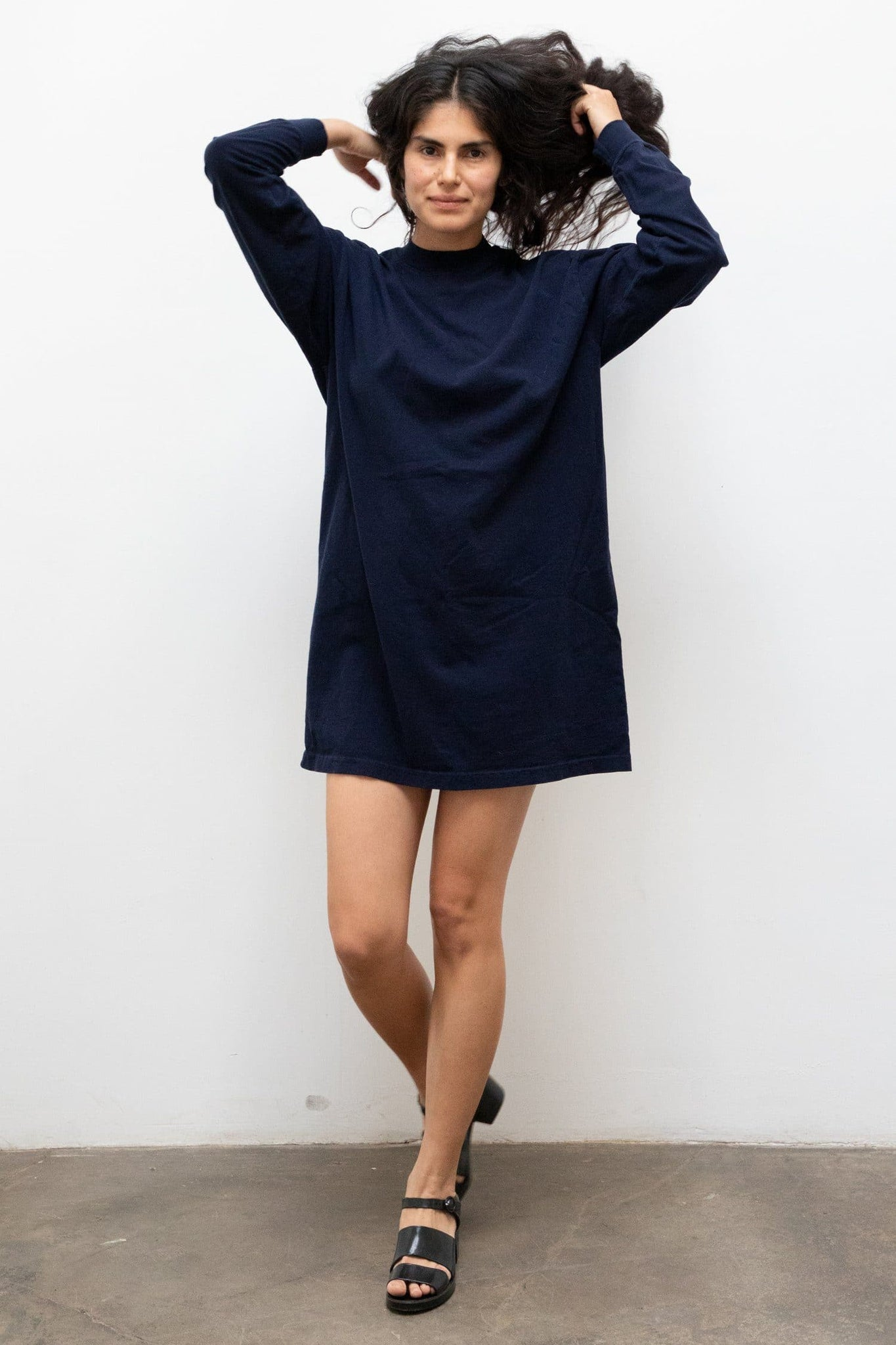 1837GD - Long Sleeve Garment Dye Mockneck Dress