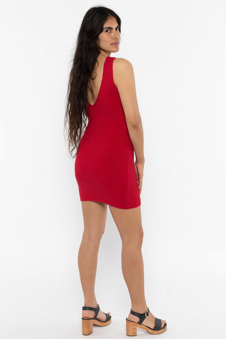 RFK226 - Ultra Heavy Knit Ribbed V Neck Dress