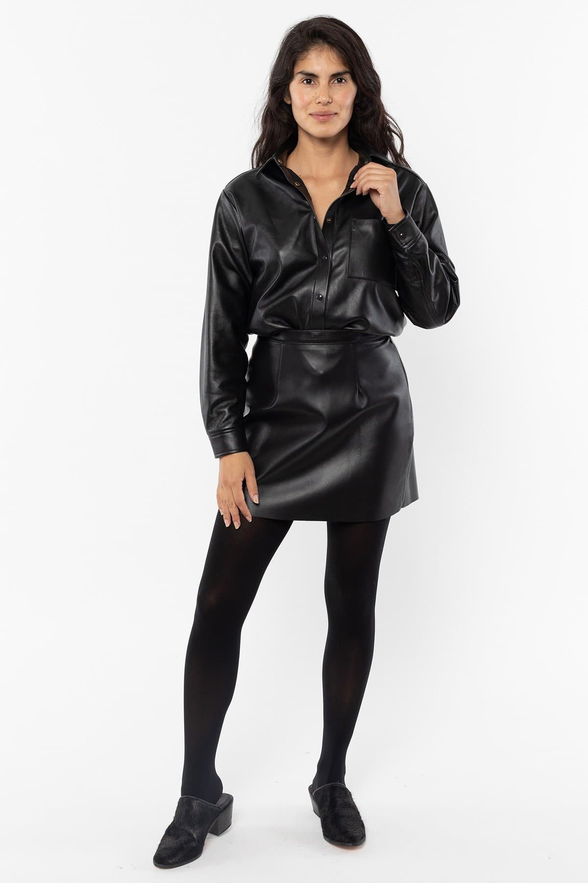 RLH3012 - Leather Mini Pencil Skirt