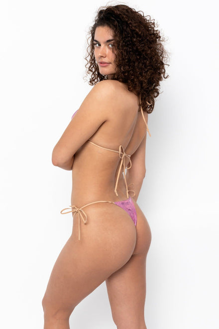 RLH3437 - Leather Thong Nylon String Bikini Bottom