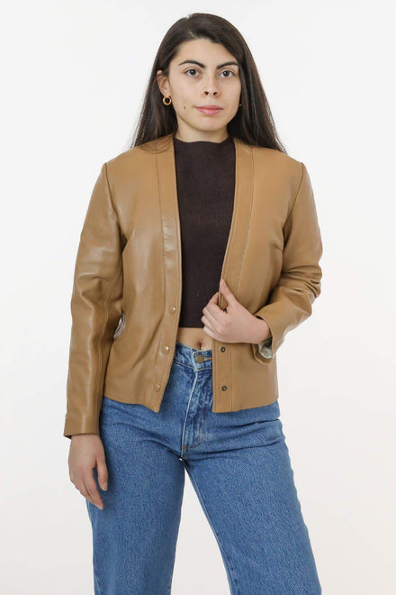 RLH3000 - Leather Collarless Blazer