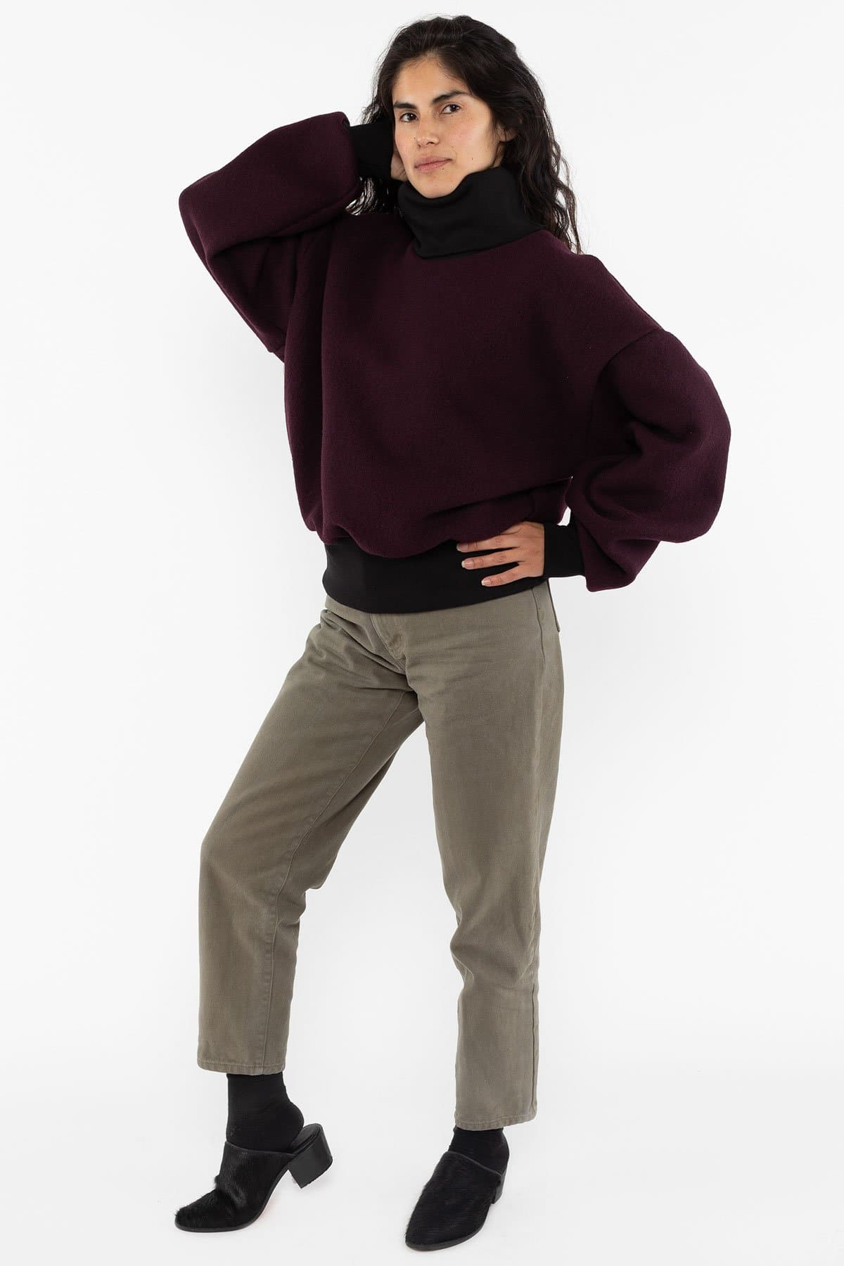 RWHR313 - Wool Turtleneck Sweater with Heavy Cotton Rib