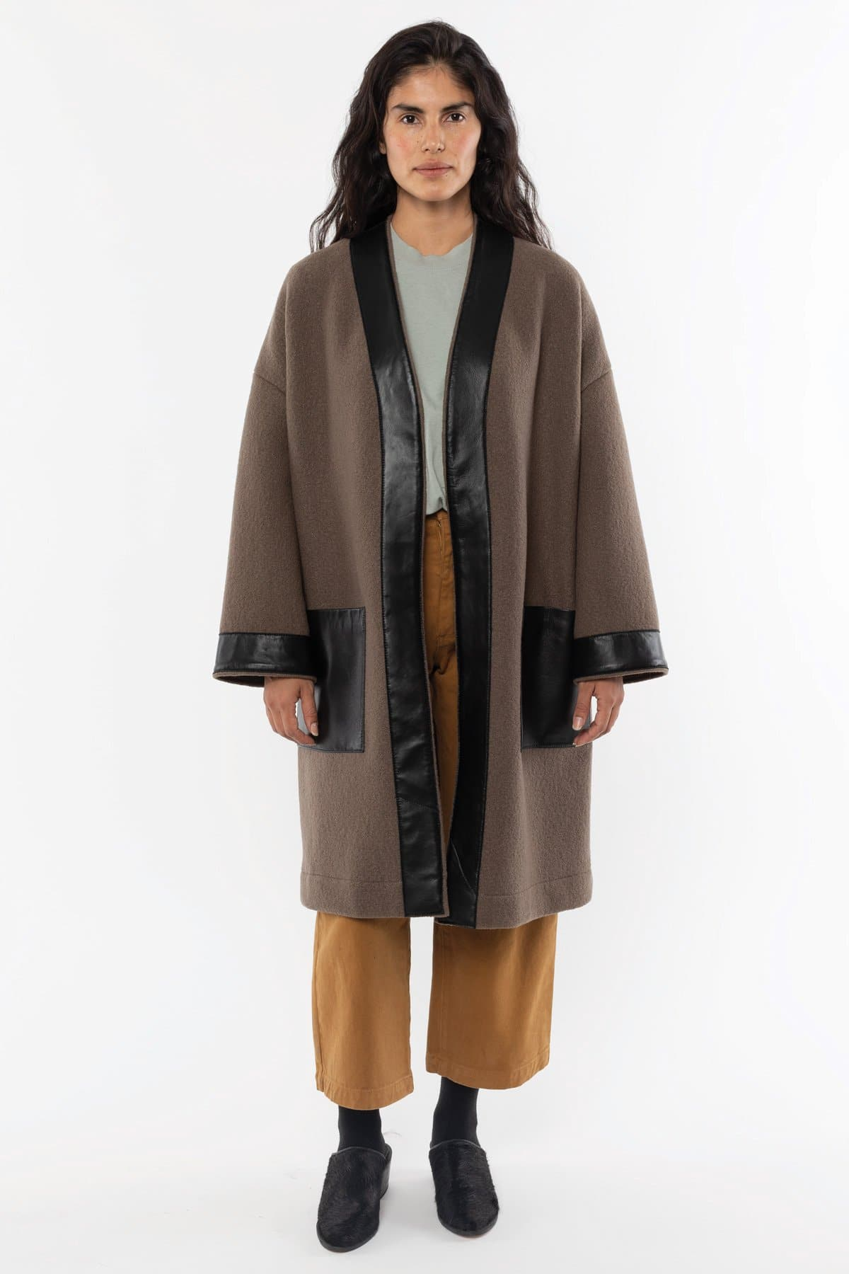 RWL100 - Wool Coat with Leather Trim