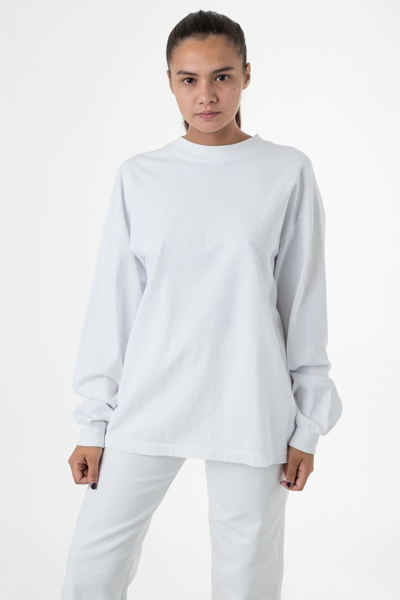 1406GD Mix - Long Sleeve Garment Dye Mockneck T-Shirt