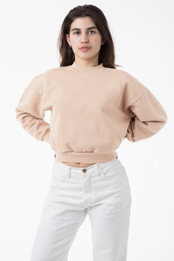 HF06GD -  14 oz Garment Dye Heavy Fleece Cropped Mock Neck Pullover