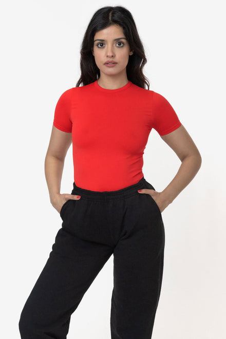 RN378 - Nylon Short Sleeve Crewneck Fitted Tee