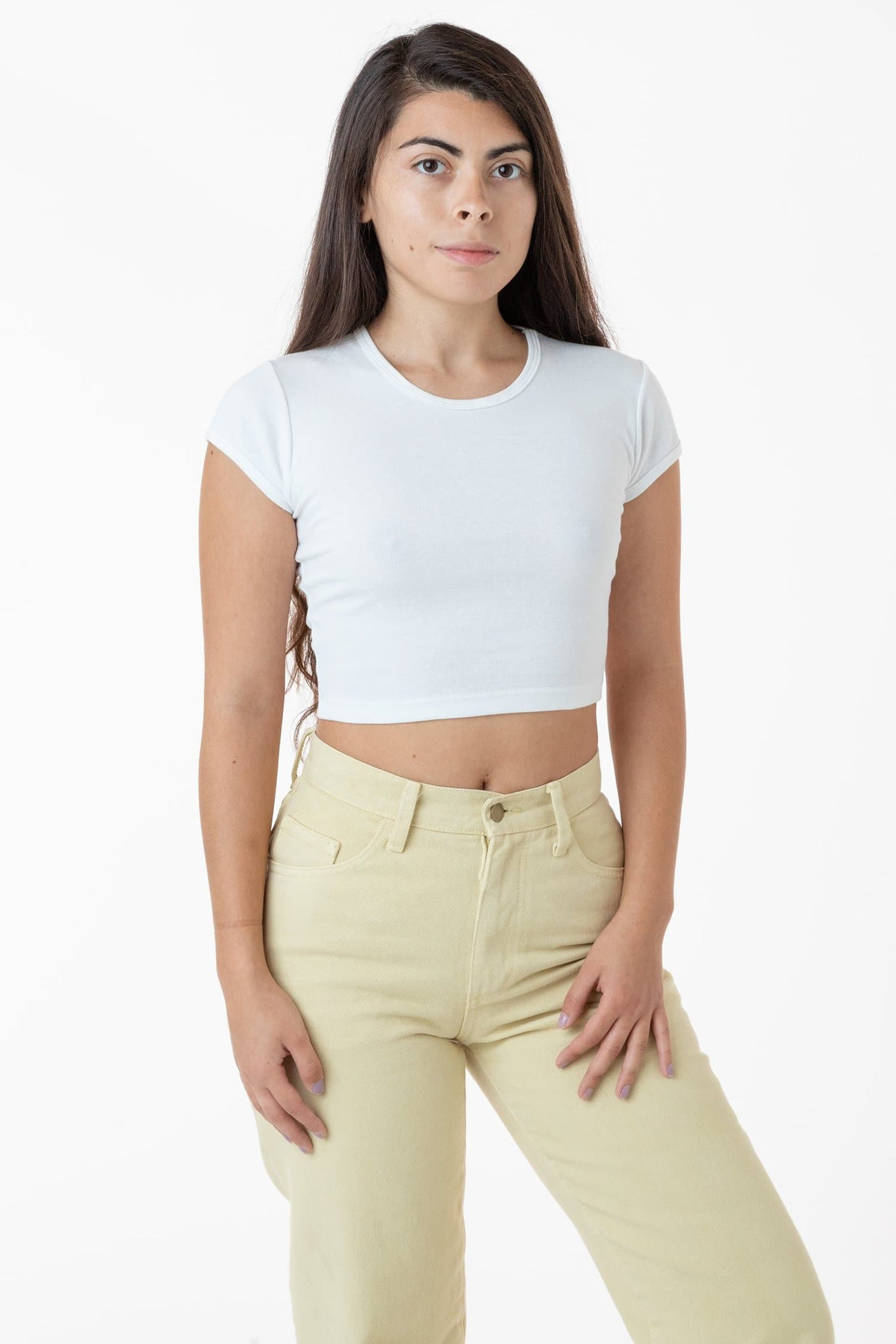 43056 - Cap Sleeve Baby Rib Crop Top
