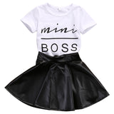 two piece skirt set, trendy girl, toddler fall outfits, white shirt, black skirt, comfort, sophistication, casual, versatile, polyester, cotton, faux leather, graphic print
