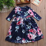 kid dress, floral long sleeve dress, stylish toddler girl clothes, casual, formal, occasions, versatility, confidence, comfortable, blue