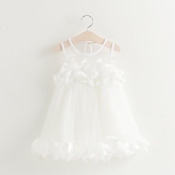 kid dress, trendy girl, toddler tulle dress, polyester, mesh, sleeveless, knee length, rosette design, formal, party, occasions, versatility, confidence, comfortable, white