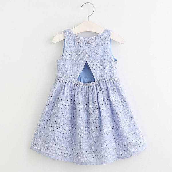 kid dress, trendy girl, open back dress, cotton, lycra, sleeveless, knee length, embriodery design, casual, formal, occasions, versatility, confidence, comfortable, blue