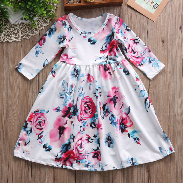 kid dress, floral long sleeve dress, stylish toddler girl clothes, casual, formal, occasions, versatility, confidence, comfortable, white