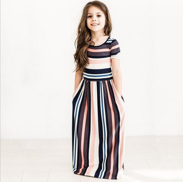 kid dress, bohemian style maxi dress, cotton blend, short sleeve, stripe design, casual, formal, occasions, versatility, confidence, comfortable
