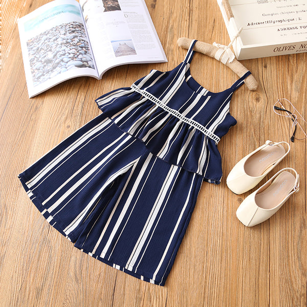 kids clothing set, trendy girl, two piece matching set, sleeveless top, trendy pant, striped design, elegant style, comfortable, versatile, polyester, cotton, fabric, summer outfit, blue, white