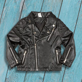 kids outerwear, trendy kids clothes, toddler faux leather jacket, unisex, zipper closure, faux leather, casual, winter, fall, spring, comfort, black