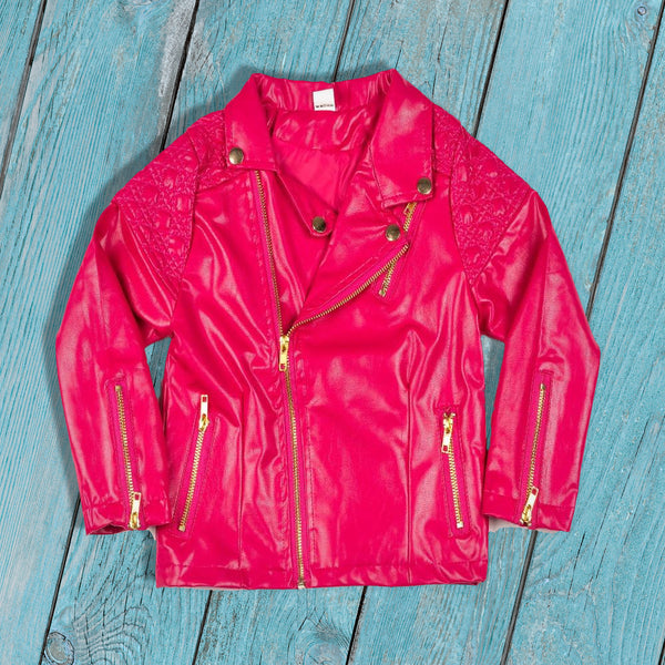 kids outerwear, trendy kids clothes, toddler faux leather jacket, unisex, zipper closure, faux leather, casual, winter, fall, spring, comfort, pink