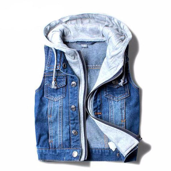 kids outerwear, trendy kids clothes, Denim Hooded Vest, unisex, cotton, polyester, casual, winter, fall, spring, summer, comfort, blue