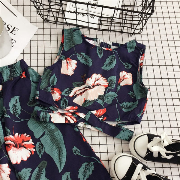 kids clothing set, floral two piece set, trendy girl, sleeveless shirt, trendy pant, floral design, bohemian style, versatile, polyester, green