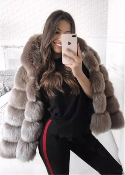 Casual Faux Long Sleeved Faux Fur Coat