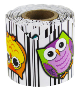 Colorful Owls Scalloped Rolled Border