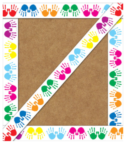 Colorful Handprints Straight Border
