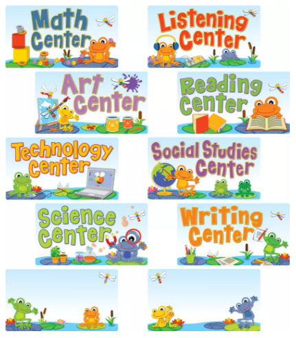 Funky Frogs Center Signs Mini Bulletin Board Set