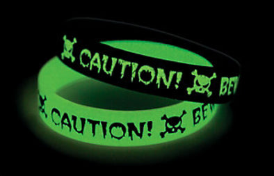 Glow in the Dark Caution Rubber Bracelet