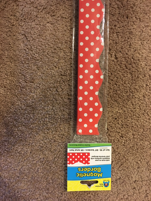 Red & White Magnetic Polka Dot border 24' total