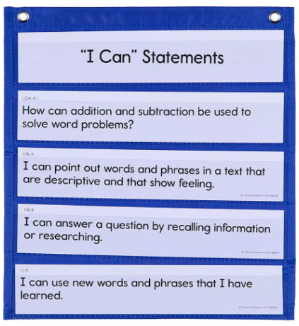 Learning Targets & Essential Questions Pocket Chart Cards Grade 1