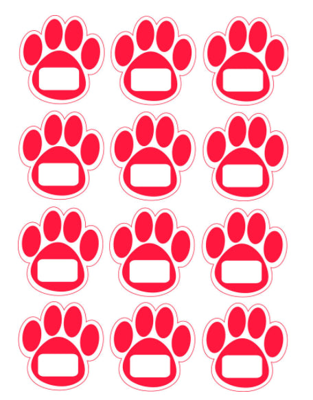 Die-cut Magnetic Red Paw Prints