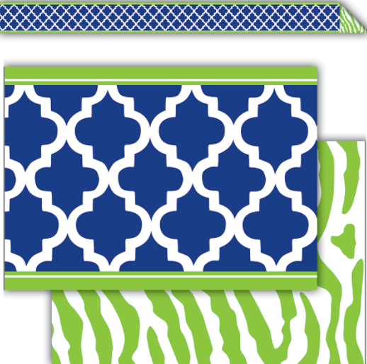 Navy & Lime Wild Moroccan Straight Border