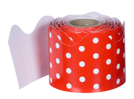 Red & White Polka Dot Rolled Scalloped Border