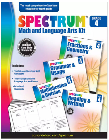 Spectrum Math & Language Arts Workbooks and Flash Cards Kit, Grade 4