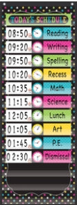 Chalkboard Brights 14 Pocket Daily Schedule Pocket Chart