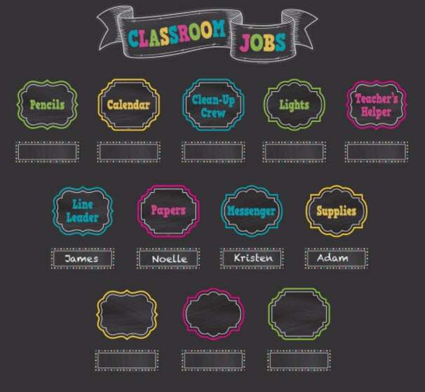 Chalkboard Brights Classroom Jobs Mini Bulletin Board Set