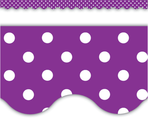 Purple & White Polka Dots Scalloped Border