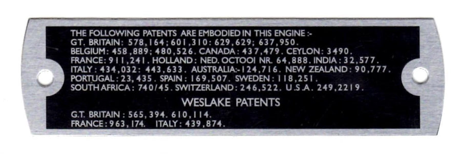 Patents Plate - Rocker Cover Mounting. 1965 on
