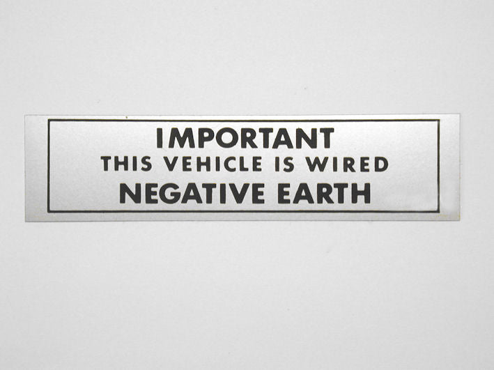 "Warning Sticker ""NEGATIVE EARTH"""