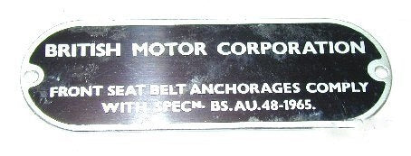 Chassis Plate - BMC Seat Belts Anchorage Specification